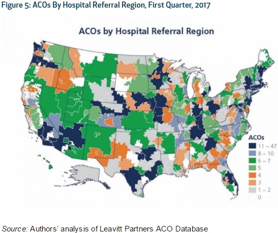 Image shows ACO penetration by hospital referral regions, with metropolitan areas seeing the greatest growth.