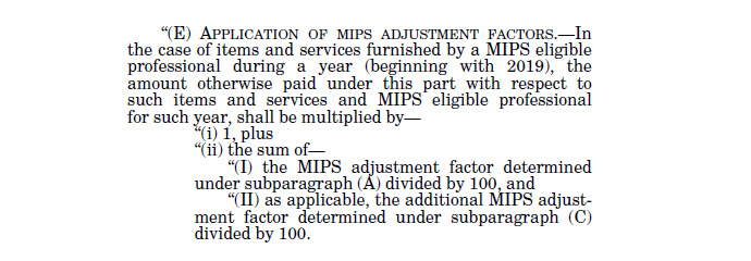 Formula for determing MIPS adjustment factor