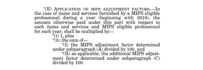 Formula for determing MIPS adjustment factor