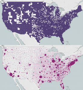 The upper map highlights medically underserved counties throughout the United States while the bottom map shows where payments from the Provider Relief Fund went. The larger the bubble, the bigger the payment.